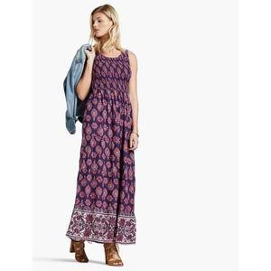 Lucky Brand Smocked Sleeveless Boho Maxi Dress